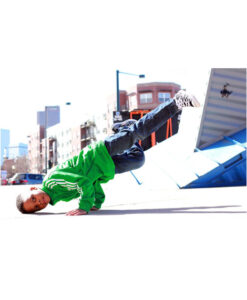 Bboy in Breaking Dance Freeze with city scape background..