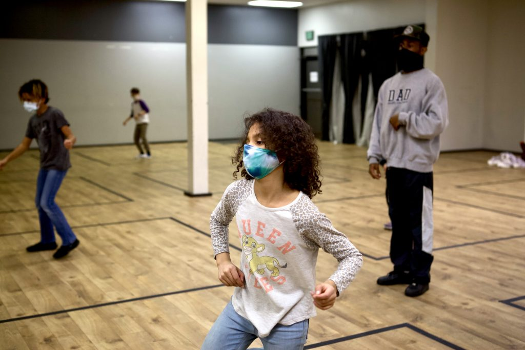 Hip Hop Students in Face masks Dancing with Instructor in Face mask